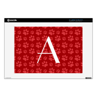 Monogram red dog paw prints laptop skins
