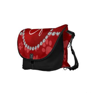 Monogram red dog paws red circle messenger bag