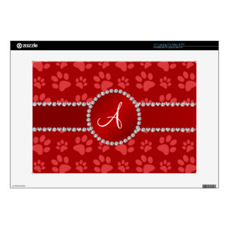 """Monogram red dog paws red circle 15"""" laptop decal"""