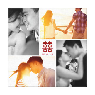 Monogram Red Double Happiness Photo Collage Canvas