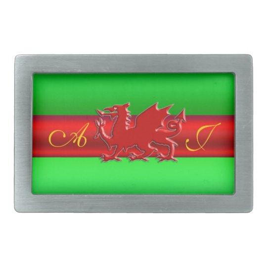 Monogram, Red Dragon on green metallic-effect Belt Buckle