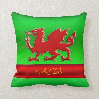 Monogram, Red Dragon on green metallic-effect Throw Pillows