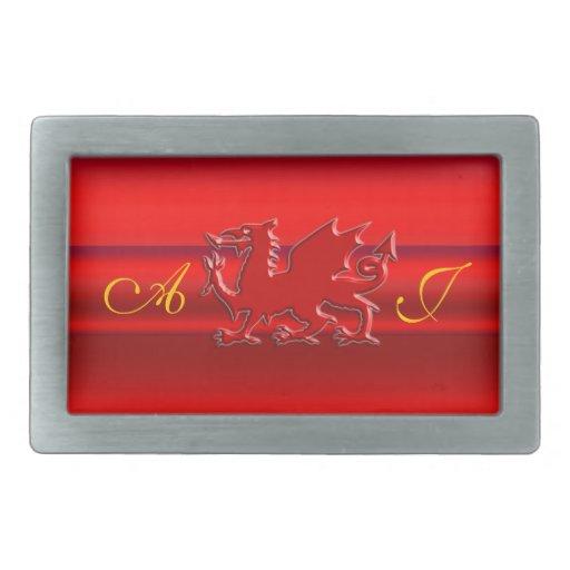 Monogram, Red Dragon on red metallic-effect Belt Buckle