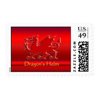 Monogram, Red Dragon on red metallic-effect Postage