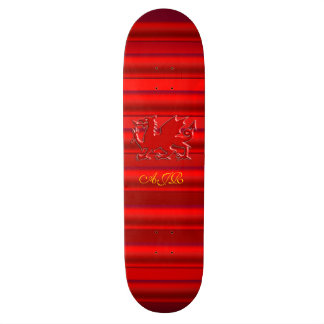 Monogram, Red Dragon on red metallic-effect Skateboard Deck