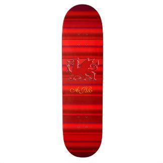Monogram, Red Dragon on red metallic-effect Skateboard Deck