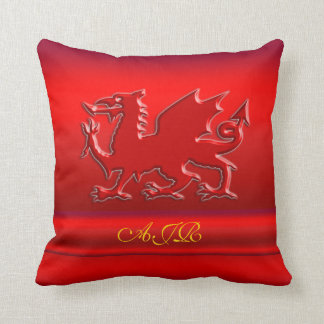 Monogram, Red Dragon on red metallic-effect Throw Pillow
