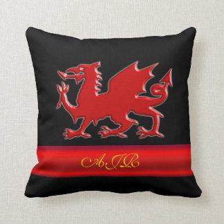 Monogram Red Dragon, red metallic-effect stripe Throw Pillow