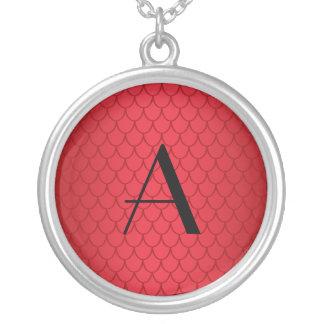 Monogram red dragon scales round pendant necklace