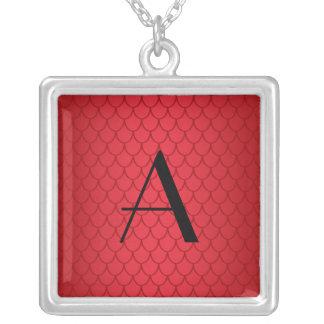 Monogram red dragon scales square pendant necklace