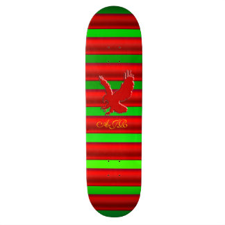 Monogram, Red Eagle logo on green metallic-effect Skateboard Deck