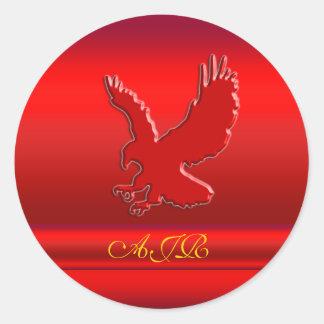 Monogram, Red Eagle logo on red metallic-effect Classic Round Sticker