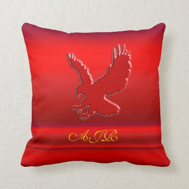 Monogram, Red Eagle logo on red metallic-effect Pillow