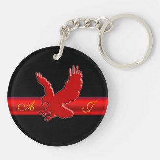 Monogram Red Eagle logo, red metallic-effect strip Acrylic Keychain