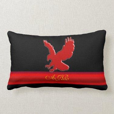 Monogram Red Eagle logo, red metallic-effect strip Throw Pillows