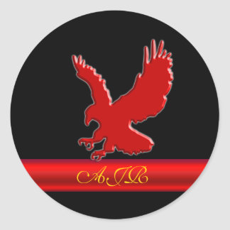 Monogram Red Eagle logo, red metallic-look strip Classic Round Sticker