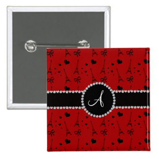 Monogram red eiffel tower pattern 2 inch square button