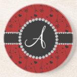 Monogram red eiffel tower pattern beverage coaster