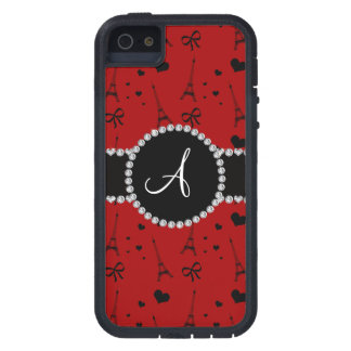 Monogram red eiffel tower pattern iPhone 5 covers
