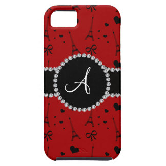 Monogram red eiffel tower pattern iPhone 5 cases