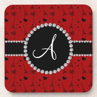 Monogram red eiffel tower pattern coasters