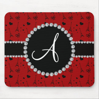 Monogram red eiffel tower pattern mousepad