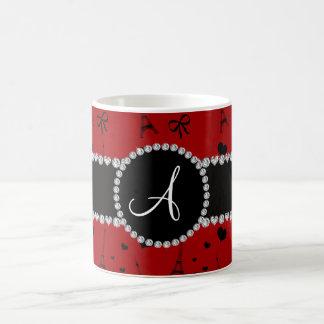 Monogram red eiffel tower pattern mug