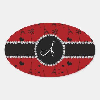 Monogram red eiffel tower pattern oval sticker