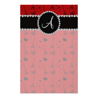 Monogram red eiffel tower pattern customized stationery
