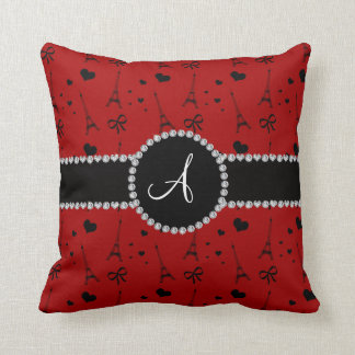 Monogram red eiffel tower pattern throw pillow