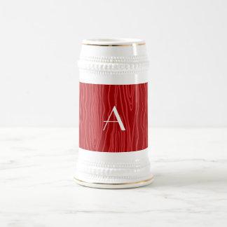 Monogram red faux bois mug
