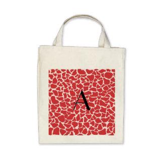 Monogram red giraffe print tote bags