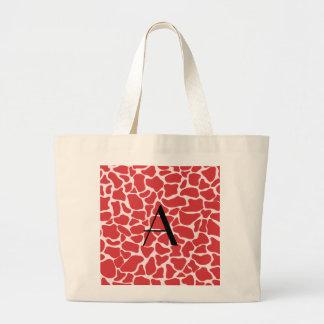 Monogram red giraffe print canvas bags