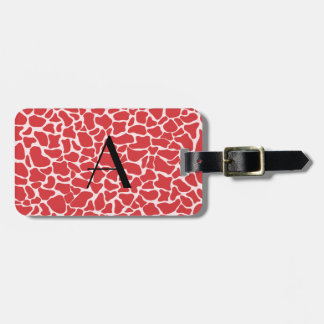 Monogram red giraffe print bag tag