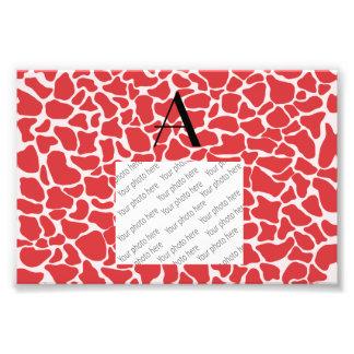 Monogram red giraffe print photo