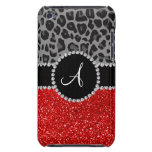 Monogram red glitter black leopard iPod touch Case-Mate case