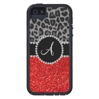 Monogram red glitter black leopard iPhone 5 cover