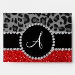 Monogram red glitter black leopard envelope