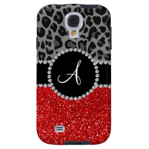 Monogram red glitter black leopard galaxy s4 case