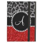 Monogram red glitter black leopard iPad air covers