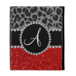 Monogram red glitter black leopard iPad case