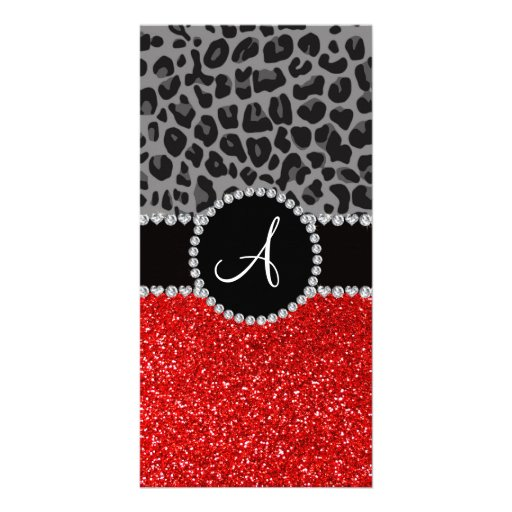 Monogram red glitter black leopard photo cards