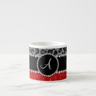 Monogram red glitter black leopard espresso cup