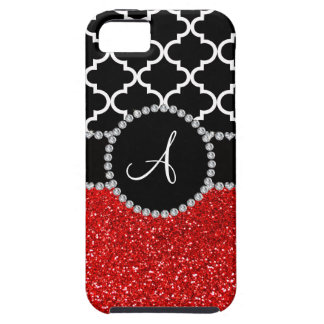 Monogram red glitter black moroccan iPhone 5 covers