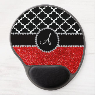 Monogram red glitter black moroccan gel mouse mat