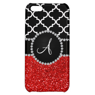 Monogram red glitter black moroccan iPhone 5C covers