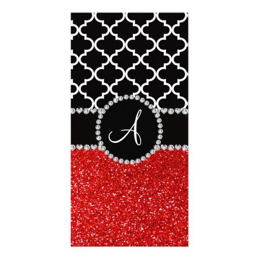 Monogram red glitter black moroccan customized photo card