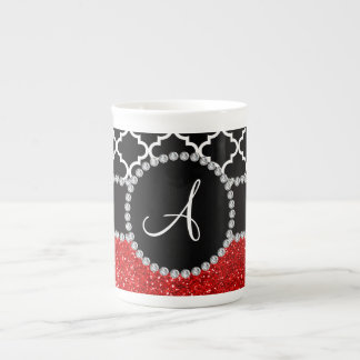Monogram red glitter black moroccan bone china mugs