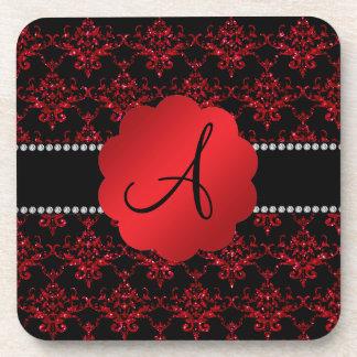 Monogram red glitter damask beverage coaster