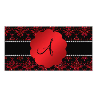 Monogram red glitter damask photo card